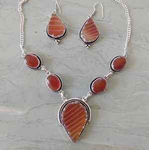 Carved carnelian carnelian stamped  necklace set